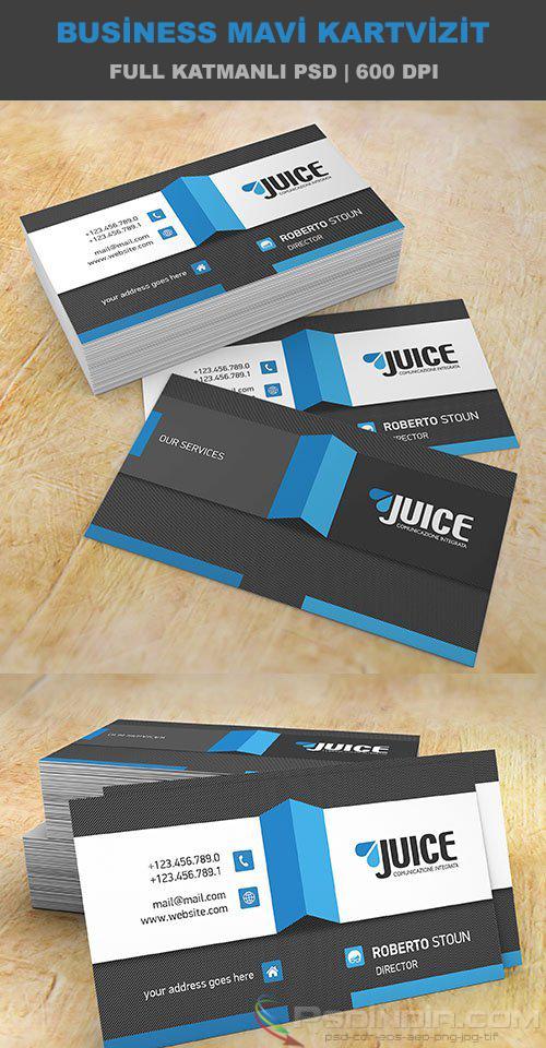 Business Mavi Kartvizit PSD