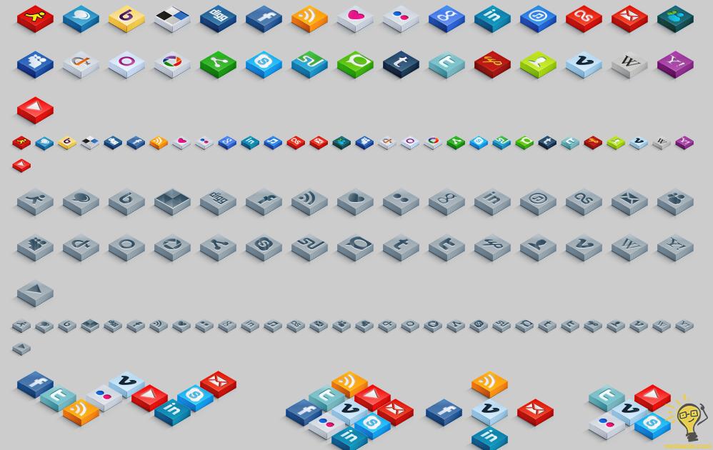 izometrik-3D-sosyal-ikon-seti