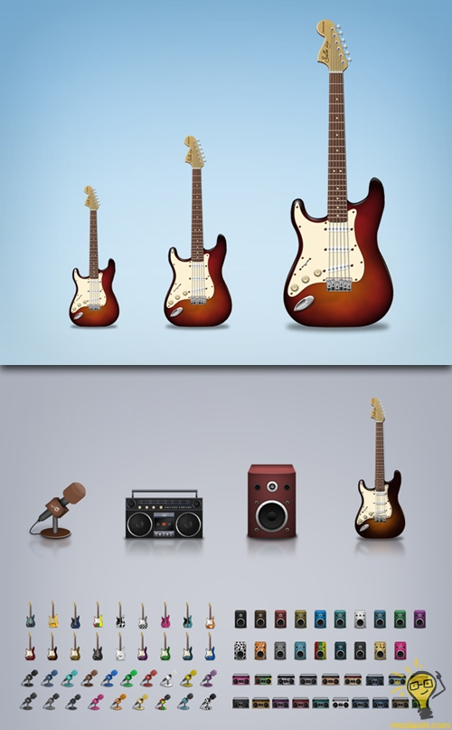 Muzik-Simgeleri-ve-Klasik-gitar-tasarimi