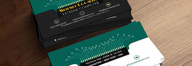 PC Teknik Servis Çift Taraflı Kartvizit Tasarımı (PSD)