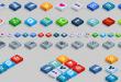 İzometrik 3D sosyal ikon seti (PSD-HTML-CSS)